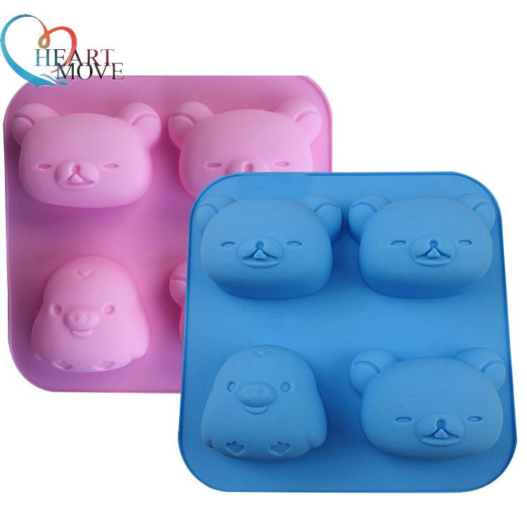 [해외]/HEARTMOVE 4 hole Cute bear head chicken silicone cake baking mould pudding soap mold chocolate soap fondant tools 9565